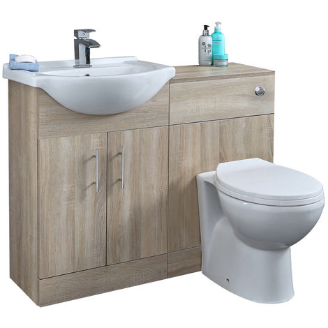 Milano Arch - Oak 1032mm Bathroom Vanity Unit with Basin, Toilet WC Unit and Back to Wall Pan