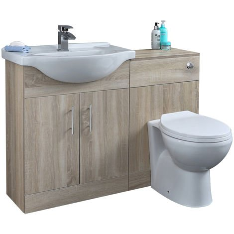 Milano Arch - Oak 1132mm Bathroom Vanity Unit with Basin, Toilet WC Unit and Back to Wall Pan