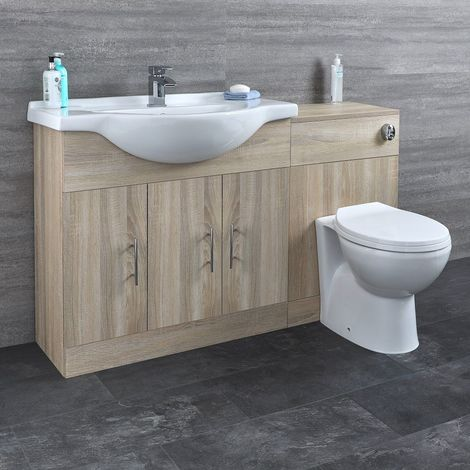 Milano Arch - Oak 1335mm Bathroom Vanity Unit with Basin, Toilet WC Unit and Back to Wall Pan