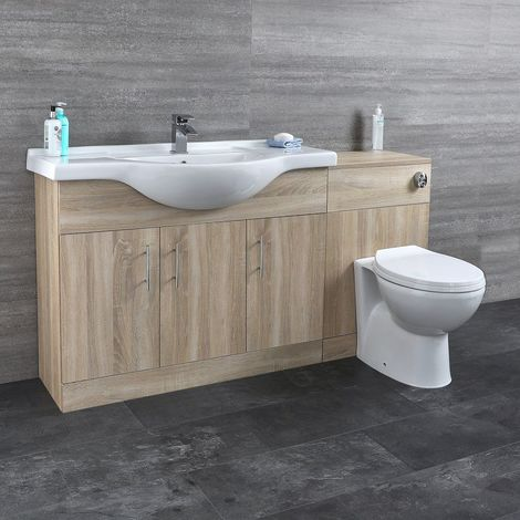 Milano Arch - Oak 1532mm Bathroom Vanity Unit with Basin, Toilet WC Unit and Back to Wall Pan