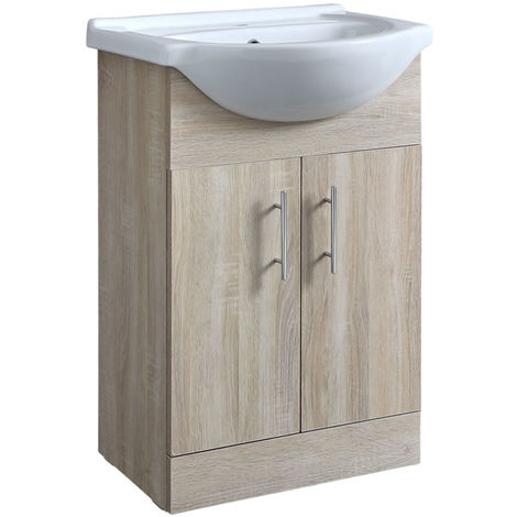 Milano Arch - Oak 550mm Bathroom Vanity Unit with Basin