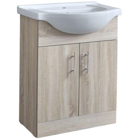 Milano Arch - Oak 650mm Bathroom Vanity Unit with Basin