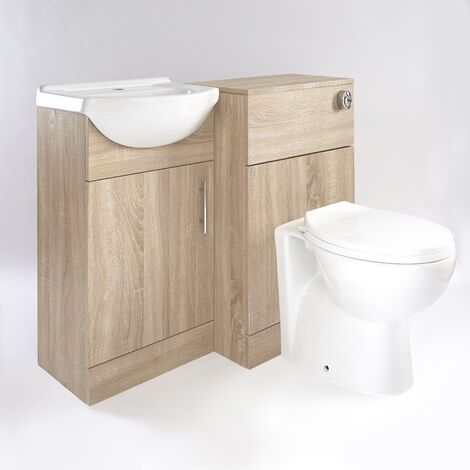 Milano Arch - Oak 932mm Bathroom Vanity Unit with Basin, Toilet WC Unit and Back to Wall Pan