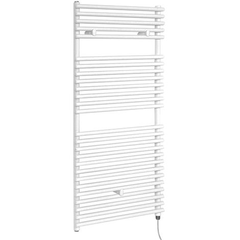 Milano Arno Electric - 1190mm x 450mm Modern Bar On Bar Heated Towel Rail Radiator - White