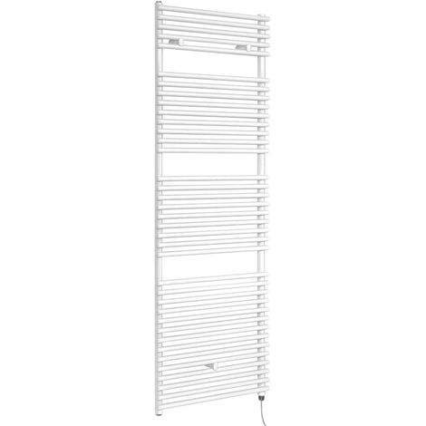 Milano Arno Electric - 1738mm x 450mm Modern Bar On Bar Heated Towel Rail Radiator - White