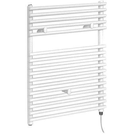 Milano Arno Electric - 730mm x 600mm Modern Bar On Bar Heated Towel Rail Radiator - White