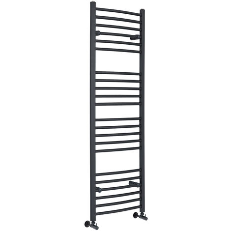 Milano Artle - 1600mm x 500mm Modern Curved Bar Heated Towel Rail Radiator – Anthracite