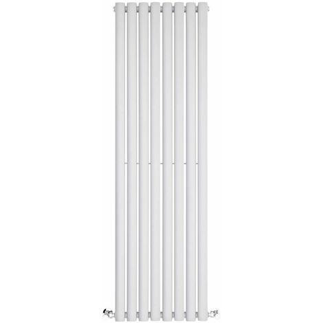 Milano Aruba - 1400mm x 472mm Modern Vertical Column Single Oval Panel Designer Radiator – White