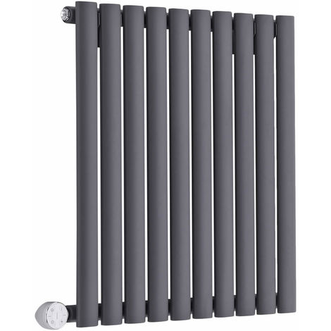 Milano Aruba Electric – 800W Modern Anthracite Horizontal Single Panel Designer Radiator – 635mm x 595mm