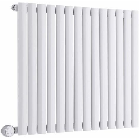 Milano Aruba Electric – 1000W Modern White Horizontal Single Panel Designer Radiator – 635mm x 826mm