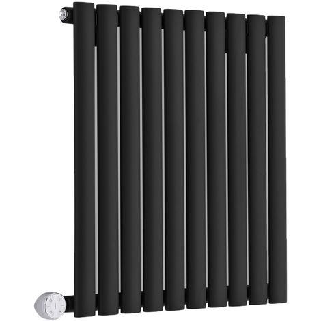 Milano Aruba Electric- Horizontal Oval Column Designer Radiator - Black - 635 x 590mm