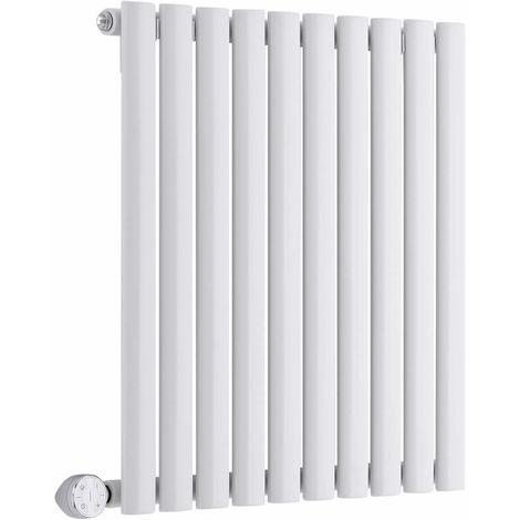 Milano Aruba Electric- Horizontal Oval Column Designer Radiator - White - 635 x 590mm