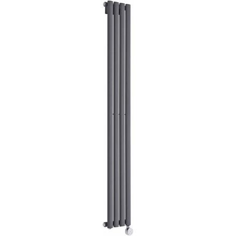 Milano Aruba Electric- Vertical Oval Column Designer Radiator - Anthracite - 1600 x 236mm