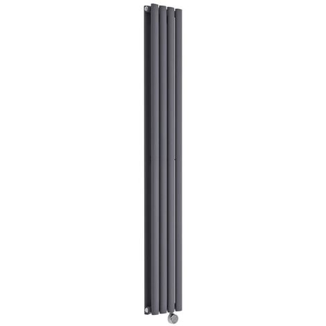 Milano Aruba Electric- Vertical Oval Column Designer Radiator - Anthracite - 1600 x 236mm Double