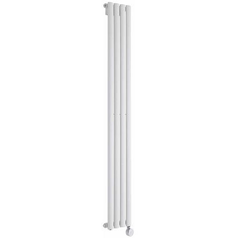 Milano Aruba Electric- Vertical Oval Column Designer Radiator - White - 1600 x 236mm