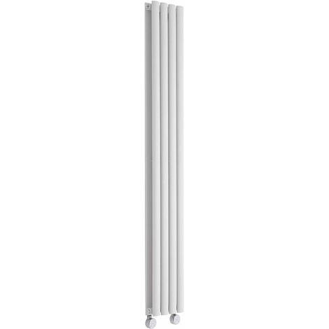 Milano Aruba Electric- Vertical Oval Column Designer Radiator - White - 1600 x 236mm Double