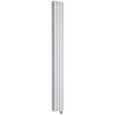 Milano Aruba Electric- Vertical Oval Column Designer Radiator - White - 1780 x 236mm Double