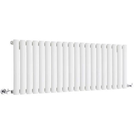 Milano Aruba - Horizontal Low Profile Oval Column Designer Radiator - White - 400 x 1180mm