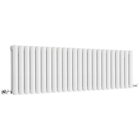 Milano Aruba - Horizontal Low Profile Oval Column Designer Radiator - White - 400 x 1411mm Double