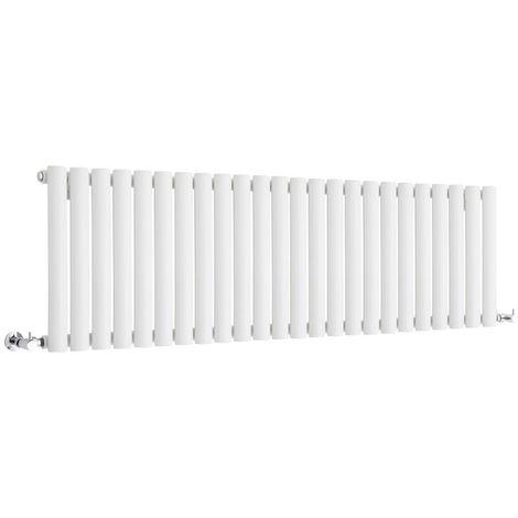 Milano Aruba - Horizontal Low Profile Oval Column Designer Radiator - White - 400 x 1416mm