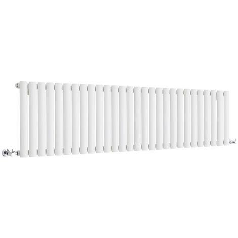 Milano Aruba - Horizontal Low Profile Oval Column Designer Radiator - White - 400 x 1647mm