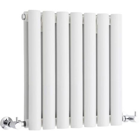 Milano Aruba - Horizontal Low Profile Oval Column Designer Radiator - White - 400 x 415mm Double