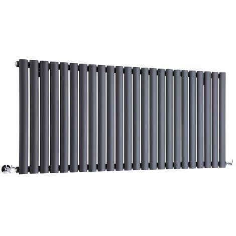Milano Aruba - Horizontal Oval Column Designer Radiator - Anthracite - 635 x 1411mm