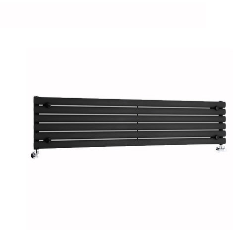 Milano Aruba - Horizontal Oval Column Designer Radiator - Black - 354 x 1600mm
