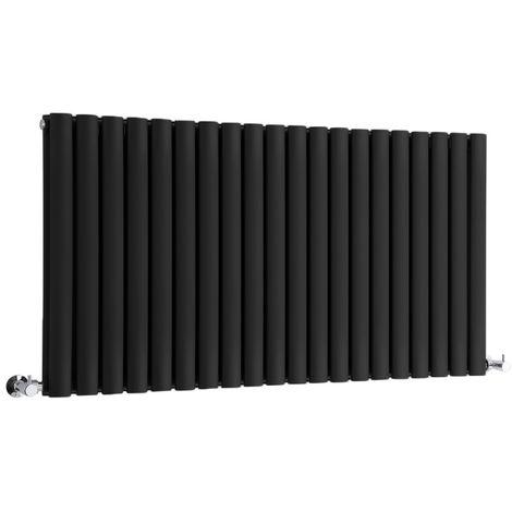 Milano Aruba - Horizontal Oval Column Designer Radiator - Black - 635 x 1180mm Double