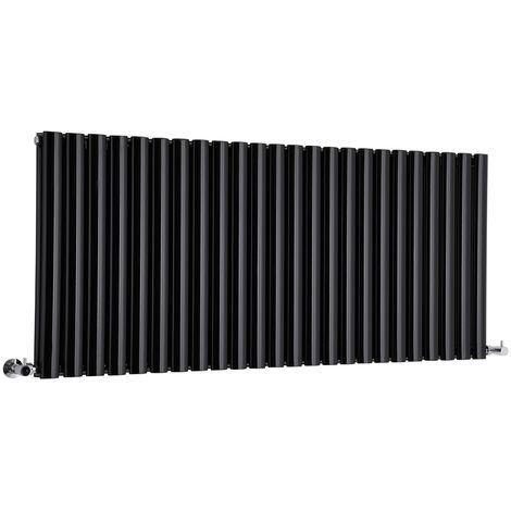 Milano Aruba - Horizontal Oval Column Designer Radiator - Gloss Black - 635 x 1411mm (Double Panel)