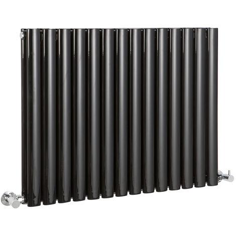 Milano Aruba - Horizontal Oval Column Designer Radiator - Gloss Black - 635 x 834mm (Double Panel)