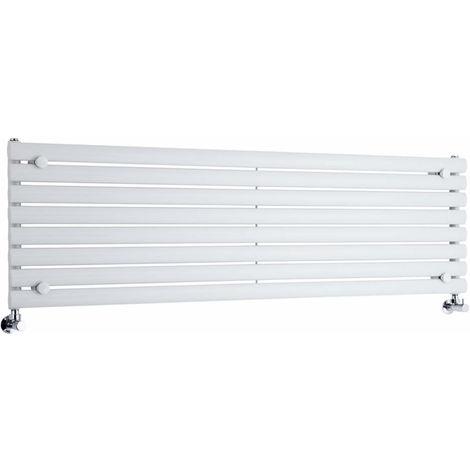 Milano Aruba - Horizontal Oval Column Designer Radiator - White - 472 x 1600mm