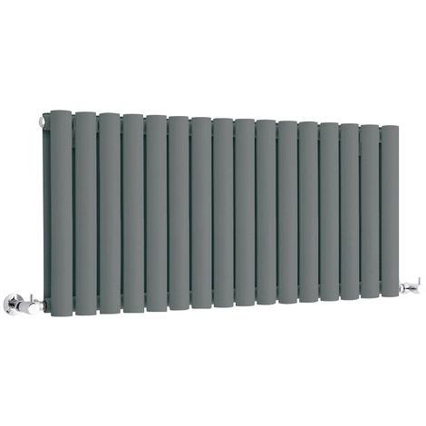 Milano Aruba - Modern Anthracite Horizontal Double Panel Designer Radiator – 400mm x 1000mm