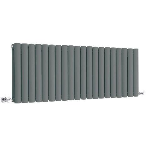 Milano Aruba - Modern Anthracite Horizontal Double Panel Designer Radiator – 400mm x 1180mm