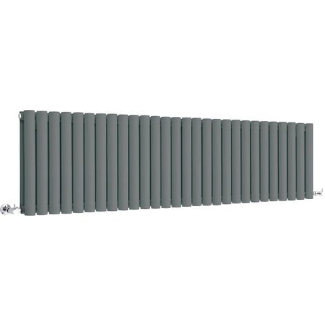 Milano Aruba - Modern Anthracite Horizontal Double Panel Designer Radiator – 400mm x 1647mm