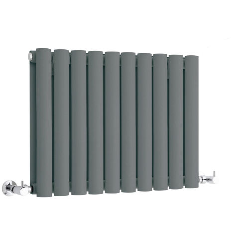 Milano Aruba - Modern Anthracite Horizontal Double Panel Designer Radiator – 400mm x 595mm