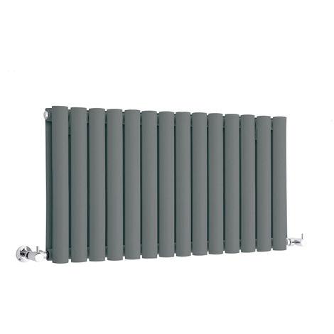 Milano Aruba - Modern Anthracite Horizontal Double Panel Designer Radiator – 400mm x 834mm