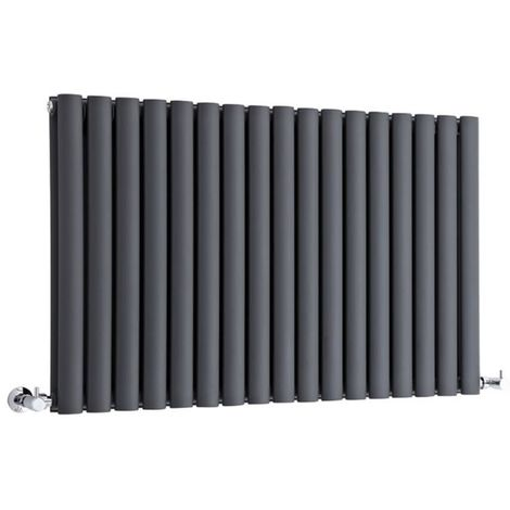 Milano Aruba - Modern Anthracite Horizontal Double Panel Designer Radiator – 635mm x 1000mm