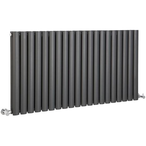 Milano Aruba - Modern Anthracite Horizontal Double Panel Designer Radiator – 635mm x 1180mm
