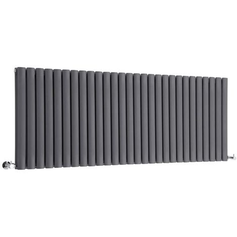 Milano Aruba - Modern Anthracite Horizontal Double Panel Designer Radiator – 635mm x 1647mm