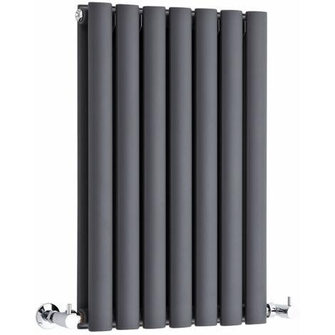 Milano Aruba - Modern Anthracite Horizontal Double Panel Designer Radiator – 635mm x 413mm