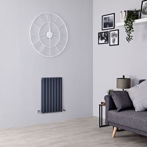 Milano Aruba - Modern Anthracite Horizontal Double Panel Designer Radiator – 635mm x 415mm