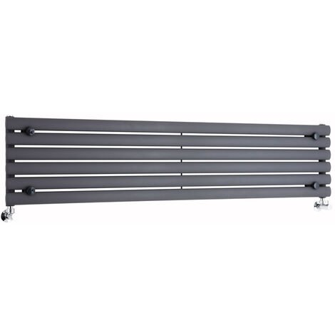 Milano Aruba - Modern Anthracite Horizontal Single Panel Designer Radiator – 354mm x 1600mm