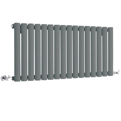 Milano Aruba - Modern Anthracite Horizontal Single Panel Designer Radiator – 400mm x 1000mm