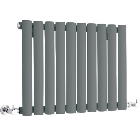 Milano Aruba - Modern Anthracite Horizontal Single Panel Designer Radiator – 400mm x 595mm