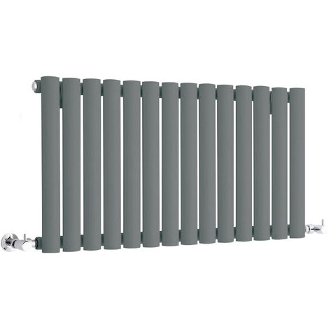Milano Aruba - Modern Anthracite Horizontal Single Panel Designer Radiator – 400mm x 834mm