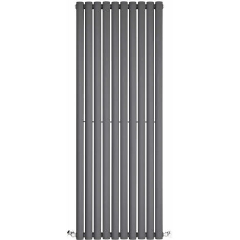 Milano Aruba - Modern Anthracite Vertical Column Double Panel Designer Radiator - 1400mm x 590mm