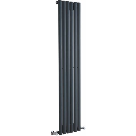 Milano Aruba - Modern Anthracite Vertical Column Single Panel Designer Radiator - 1600mm x 354mm