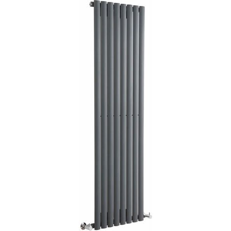 Milano Aruba - Modern Anthracite Vertical Column Single Panel Designer Radiator – 1600mm x 472mm