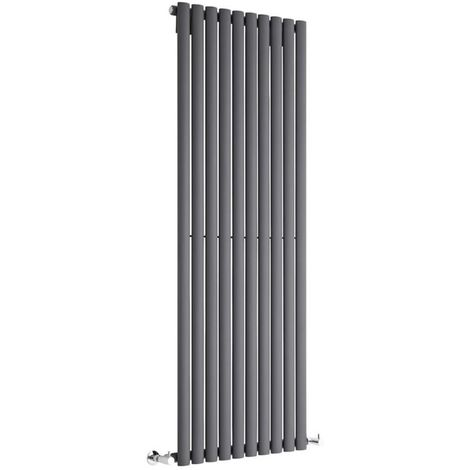Milano Aruba - Modern Anthracite Vertical Column Single Panel Designer Radiator – 1600mm x 590mm